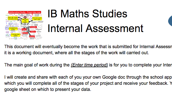 IB Maths Studies / Applications: A project Google doc